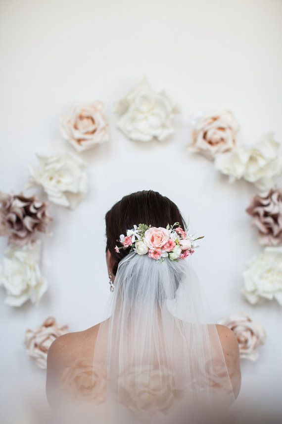 Mariage - Flower Comb- Blush Bridal Headpiece- Flower Crown- Back Comb Flower Comb