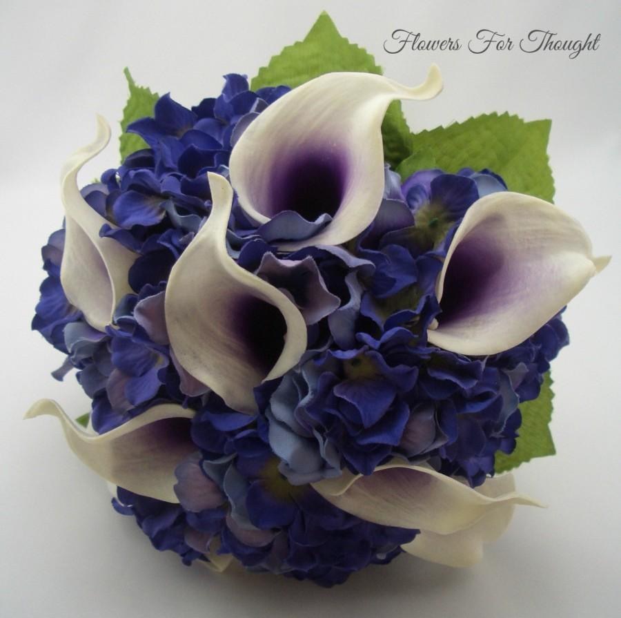 Mariage - Real Touch Calla Lily and Hydrangea Bouquet, Purple Wedding Arrangement, Bride Keepsake
