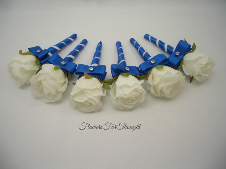 Mariage - White Rosebud Boutonniere with Royal Blue Ribbon, Mens Wedding Flower, Groomsmen Lapel Bloom Pin
