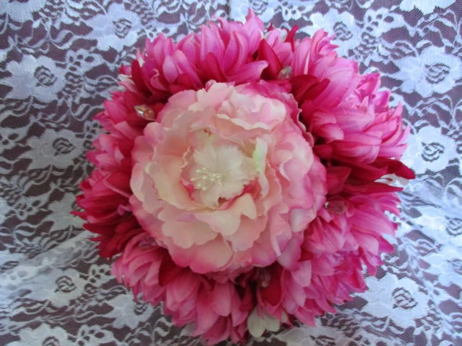 Wedding - Pink Wedding Bouquet, Bridal Pink Bouquet, White Pink Bouquet, Beautiful Pink Rose, Sparkly Handle, Pink Peony Dahlia Bouquet
