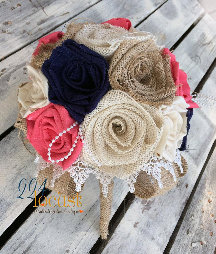 Свадьба - Coral and Navy Bridal Bouquet, Wedding Bouquet, Alternative Bouquet, Wedding, Navy Fabric Bouquet, Rustic Wedding Bouquet Country Wedding