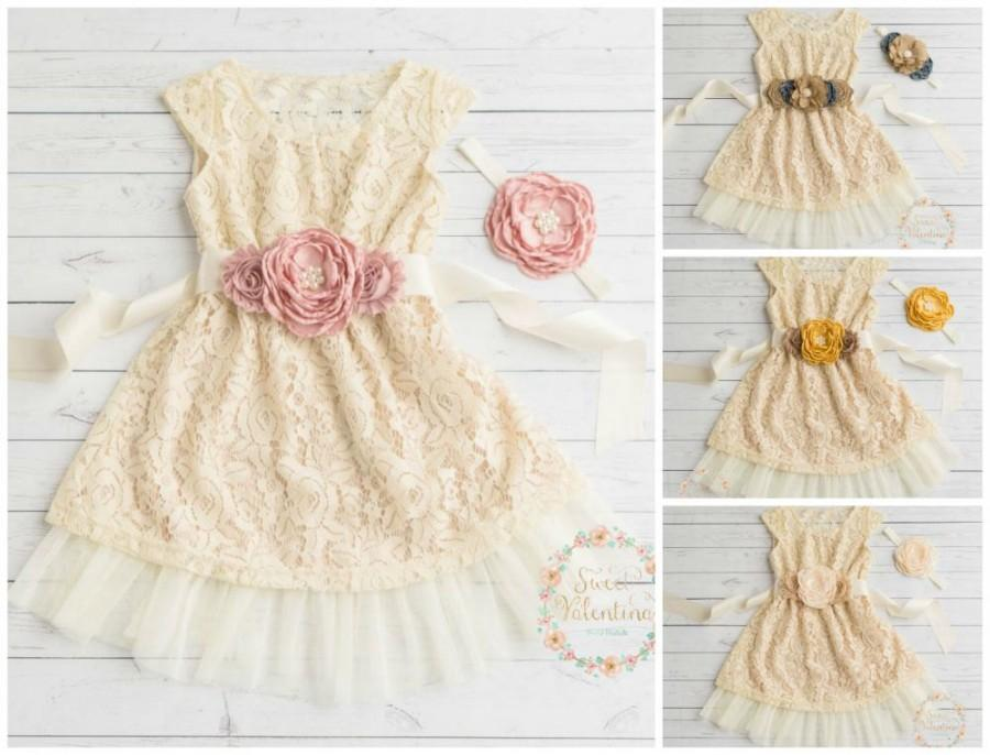 Mariage - Ivory flower girl dress, lace baby dress, rustic flower girl dress, country flower girl dress, Easter lace girls dresses, flower girl dress.
