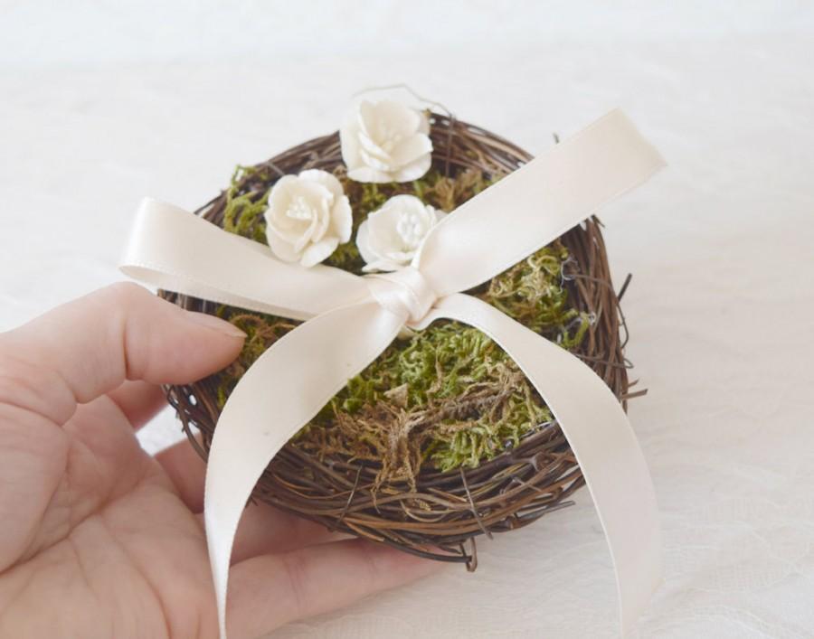 زفاف - Bird Nest Ring Bearer Pillow, ring pillow alternative, woodland wedding decor, twig nest, woodland ring pillow, ring bearer pillow
