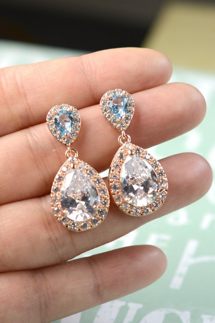 Aquamarine Blue Aqua ROSE GOLD Wedding Jewelry Bridesmaid Gift