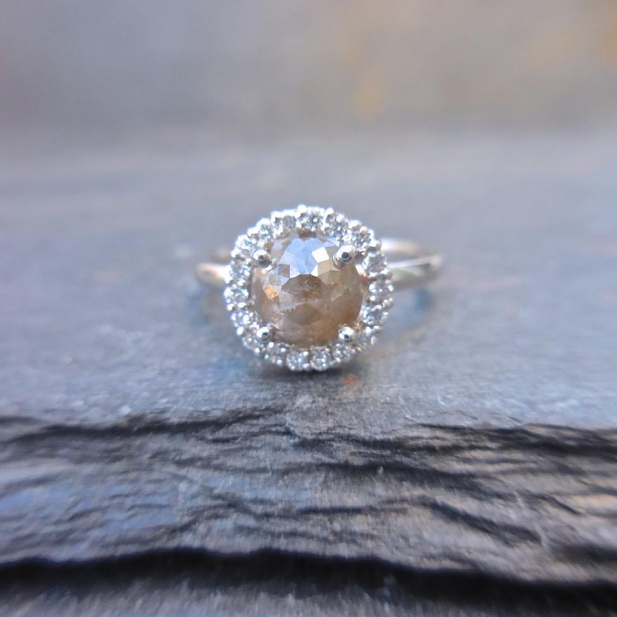 Mariage - Diamond Ring with halo, Rustic, 14 kt White Gold, Modern Engagement, Rosecut, Checker Board Cut, Modern Engagement