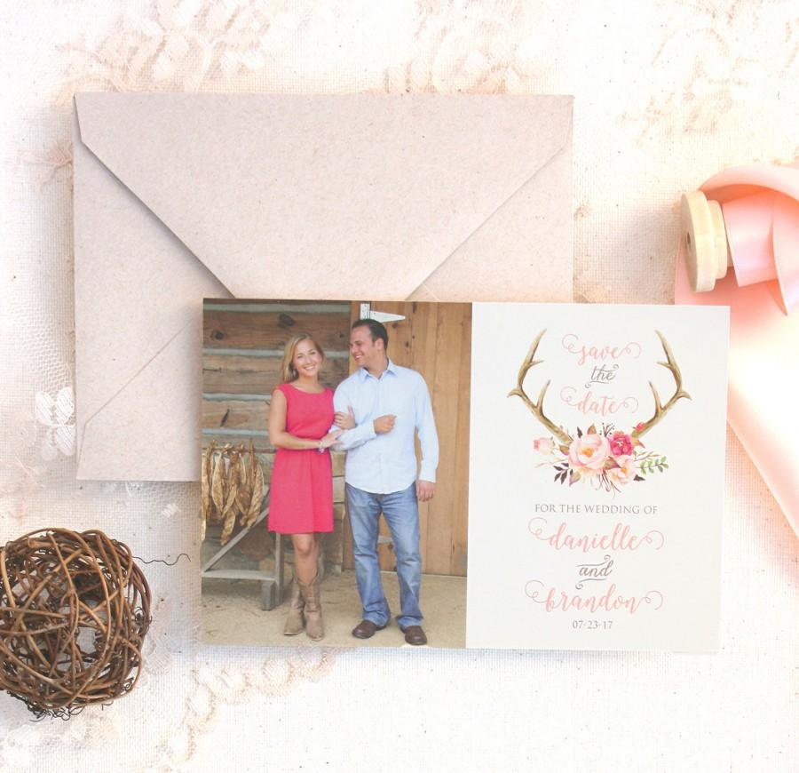 زفاف - Floral Antler Photo Save the Date - Spring Wedding Save the Date - Rustic Wedding Save the Date - Blush Wedding Save the Date