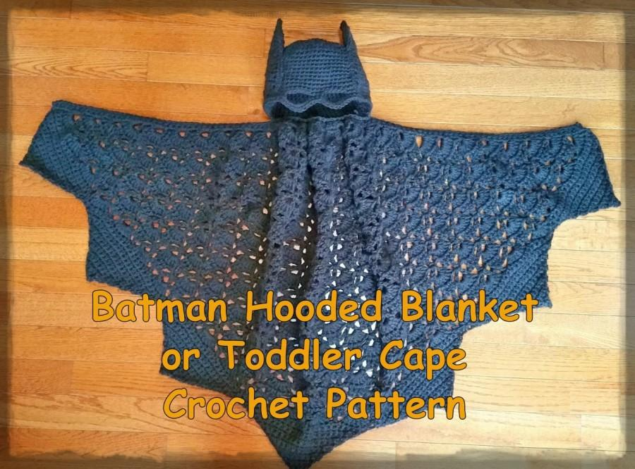 زفاف - Batman Hooded Blanket or Toddler Cape Crochet Pattern PDF - INSTANT DOWNLOAD