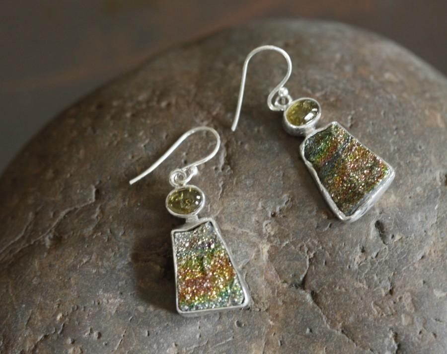 Wedding - Spectropyrite druzy earrings, druzy earrings, Tourmaline earrings, gift for her, bridesmaid earrings, 925 silver earrings, rainbow druzy