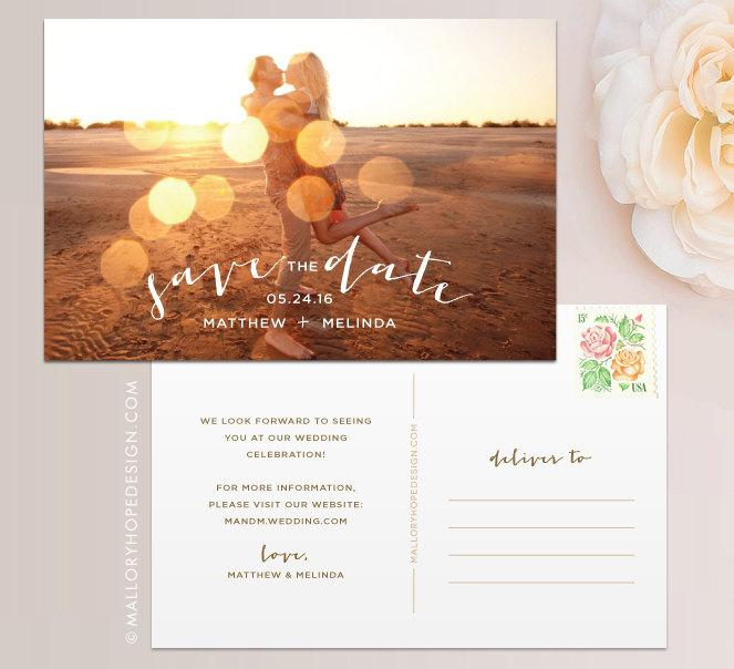 Hochzeit - Romantic Photo Save the Date Postcard / Magnet / Flat Card - Save the Date Magnet, Photo Wedding Magnet, Rustic Save the Date