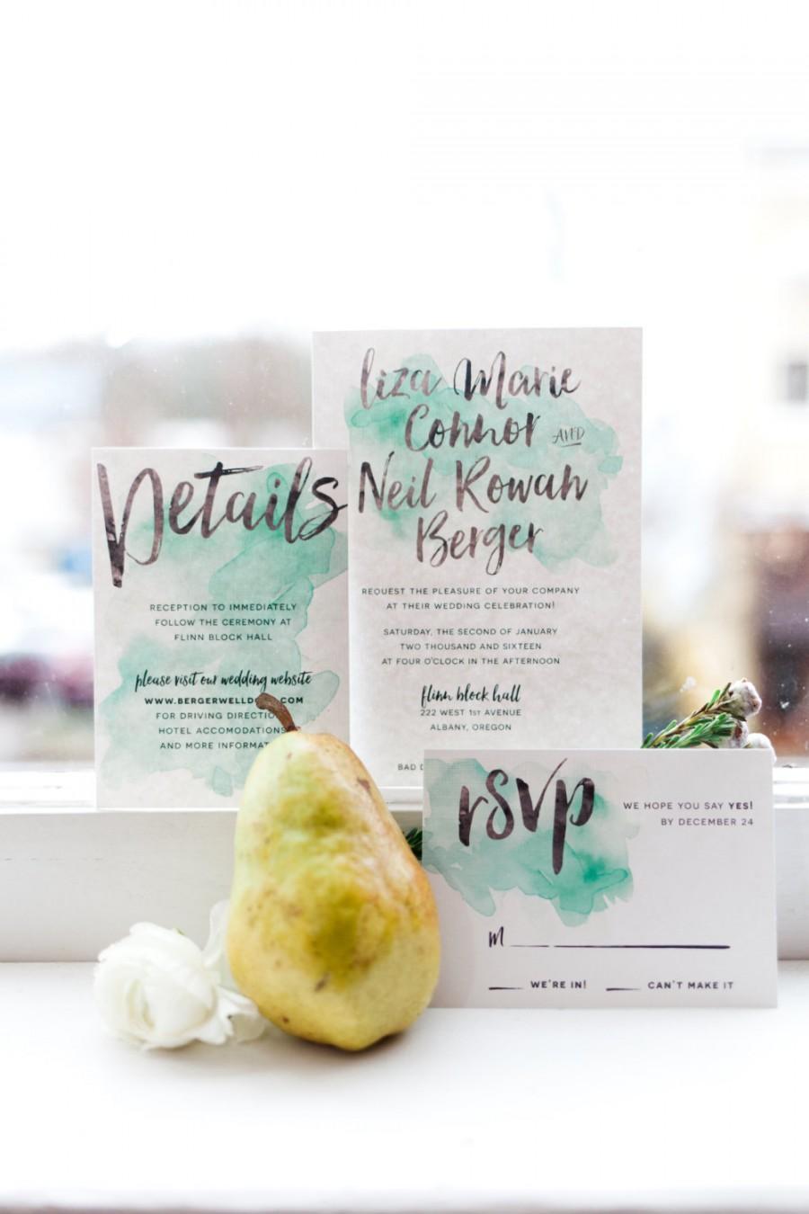 Wedding - watercolor wedding invitations // watercolor invites // brush lettering // green watercolor // mint watercolor // printable // custom