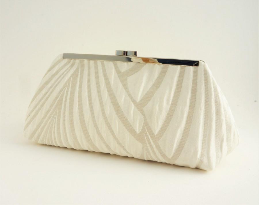 Mariage - Ivory Art Deco Gatsby Bridal Wedding Clutch Handbag - 1920's Style Bridesmaid/Evening/Formal Handbag - Crossbody Option - Made to Order