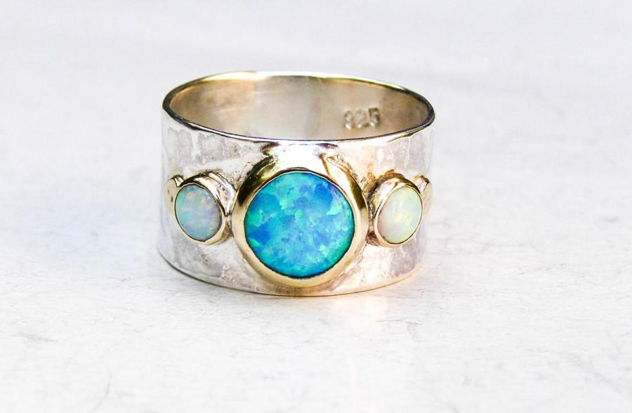 78b5178f5d8d7 Unique Engagement Ring, Opal Ring, Gold And Silver, Hammered Silver ...