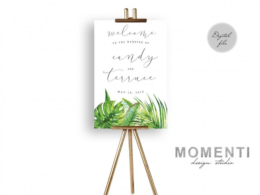 Mariage - Tropical Wedding Welcome sign, palm beach wedding welcome sign printable, Elegant green reception sign printable, The Aura collection