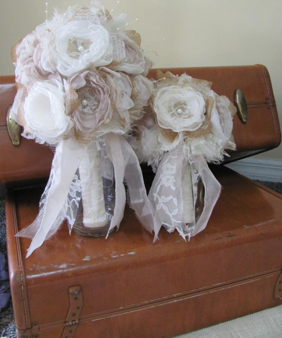 Mariage - Burlap Bridal Bouquet With Matching Bridesmaids Bouquet  Pink Champagne and Ivory
