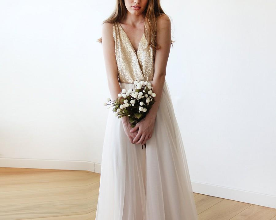 Hochzeit - Gold sequins bridal tulle gown, Tulle and sequins wedding gown 1094