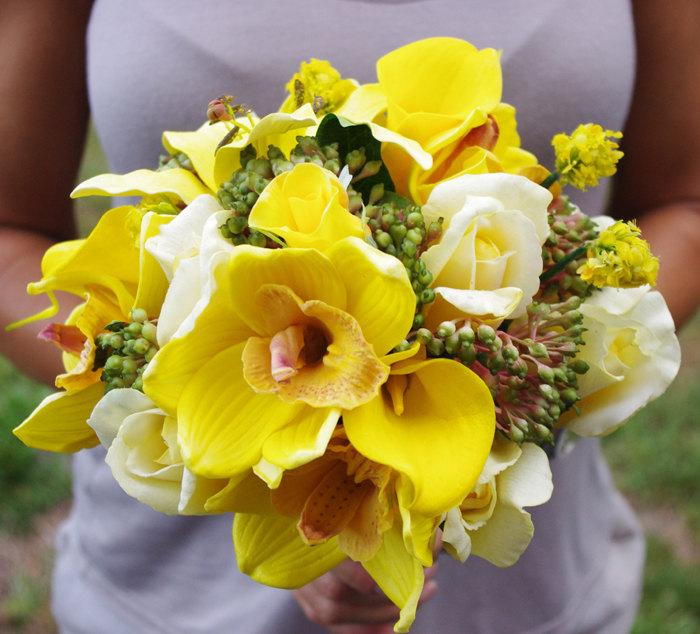 Wedding - Wedding Natural Touch Yellow Callas, Orchids and Roses Silk Flower Bride Bouquet - Almost Fresh