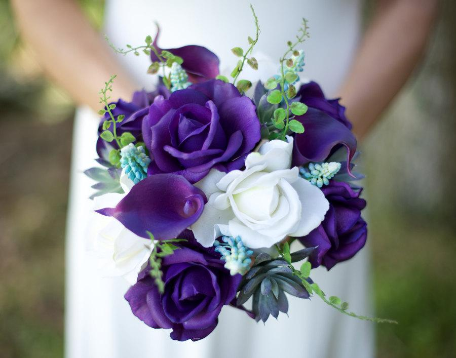Hochzeit - Wedding Succulents and Purple Roses Bouquet - Roses and Callas Natural Touch Silk Flower Bride Bouquet