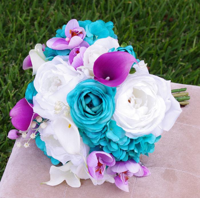 Hochzeit - Wedding Teal Turquoise and Purple Natural Touch Roses Silk Flower Bride Bouquet - Peacock Colors