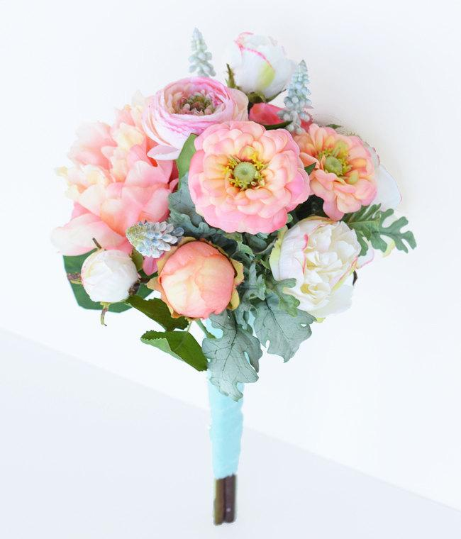 Mariage - Wedding Peach Coral Peonnies, Ranunculus and Zinnias Flower Bride Fresh Style Bouquet