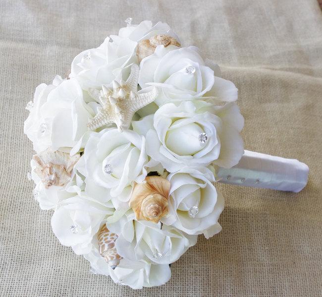 Hochzeit - Wedding Natural Touch Seashells and Ivory Roses Silk Flower Bride Bouquet - Almost Fresh