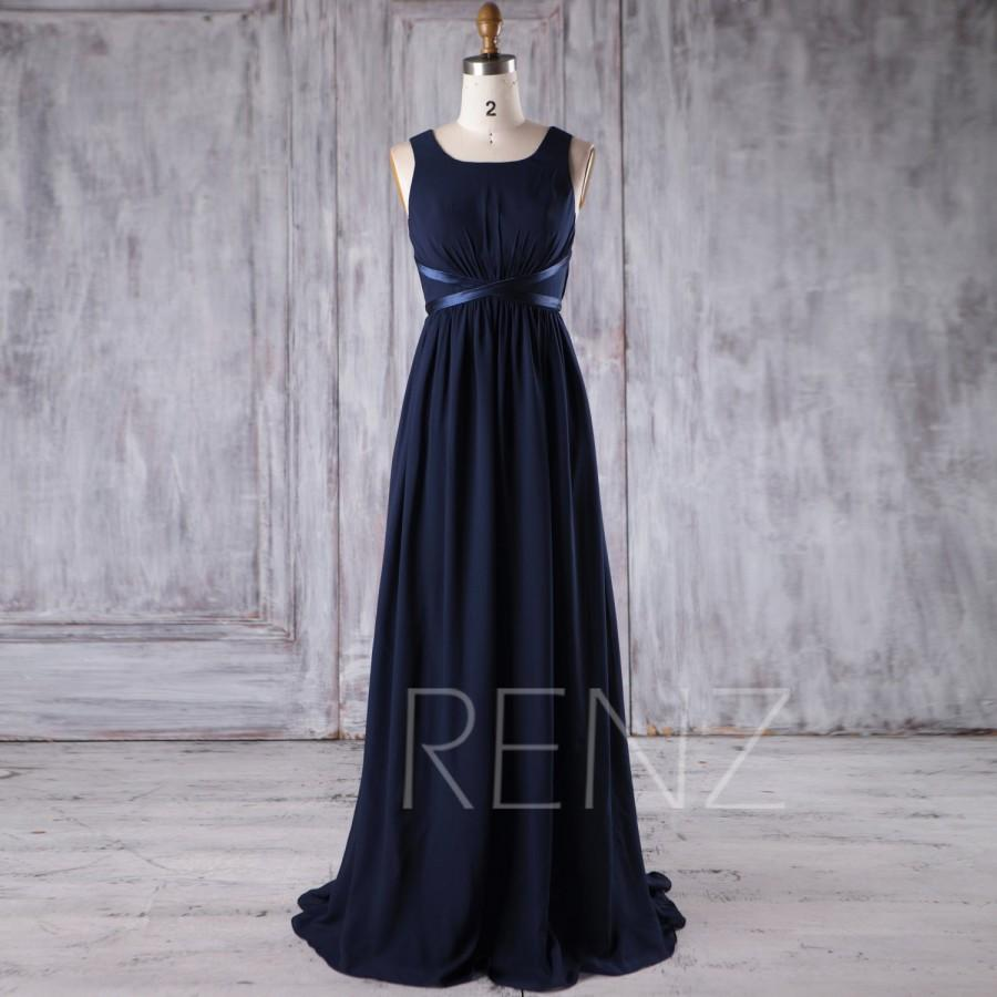 6802a9b608a 2017 Navy Chiffon Bridesmaid Dress