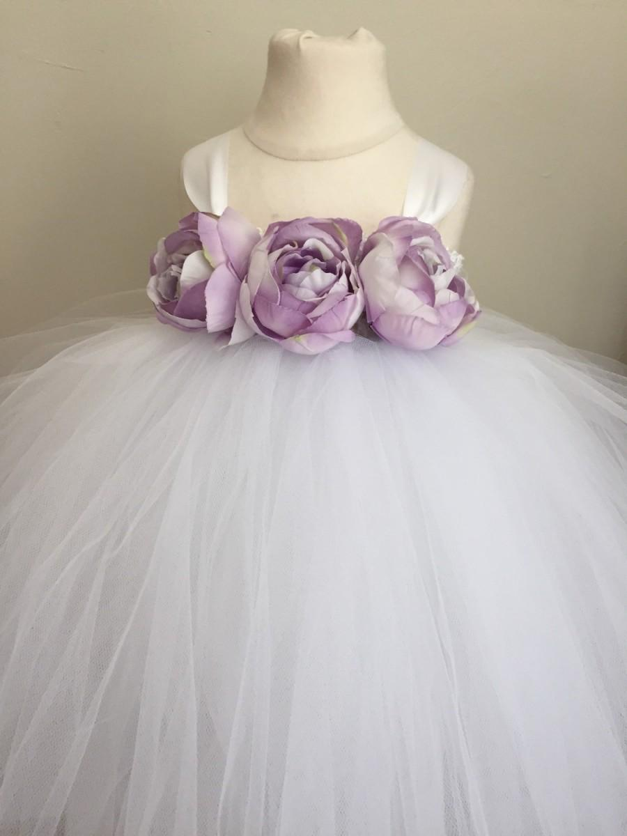 Lavender And White Girls Tulle Flower Girl Dress Lavender Wedding