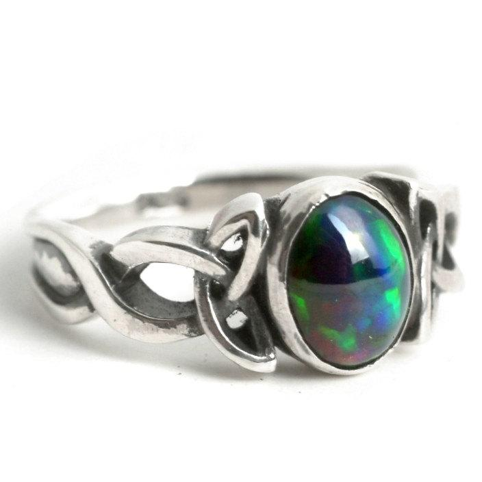 Opal Engagement Ring, Sterling Silver Celtic Knot Ring ...