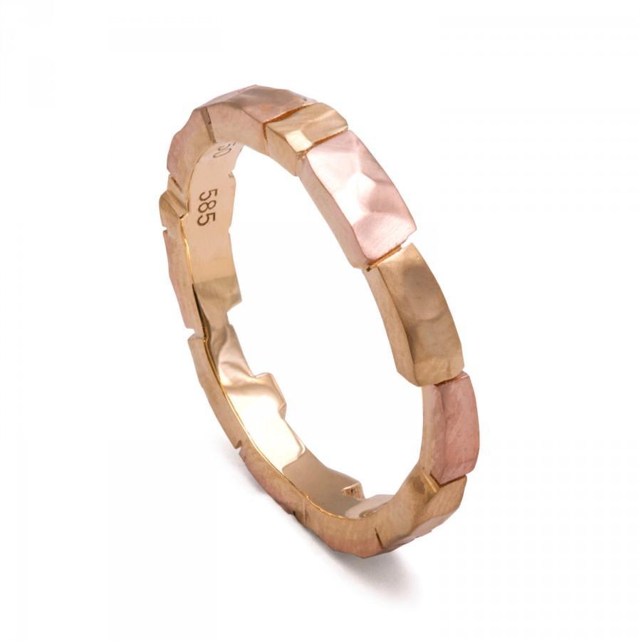 Mariage - Bricks Wedding Band - Gold Wedding Band, tricolor wedding band, men's ring, wedding ring, wedding band, mens band, rose gold band,two tone,1