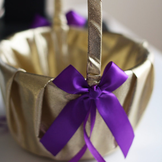 Purple And Gold Wedding.Gold Flower Girl Basket Gold Purple Wedding Purple Wedding