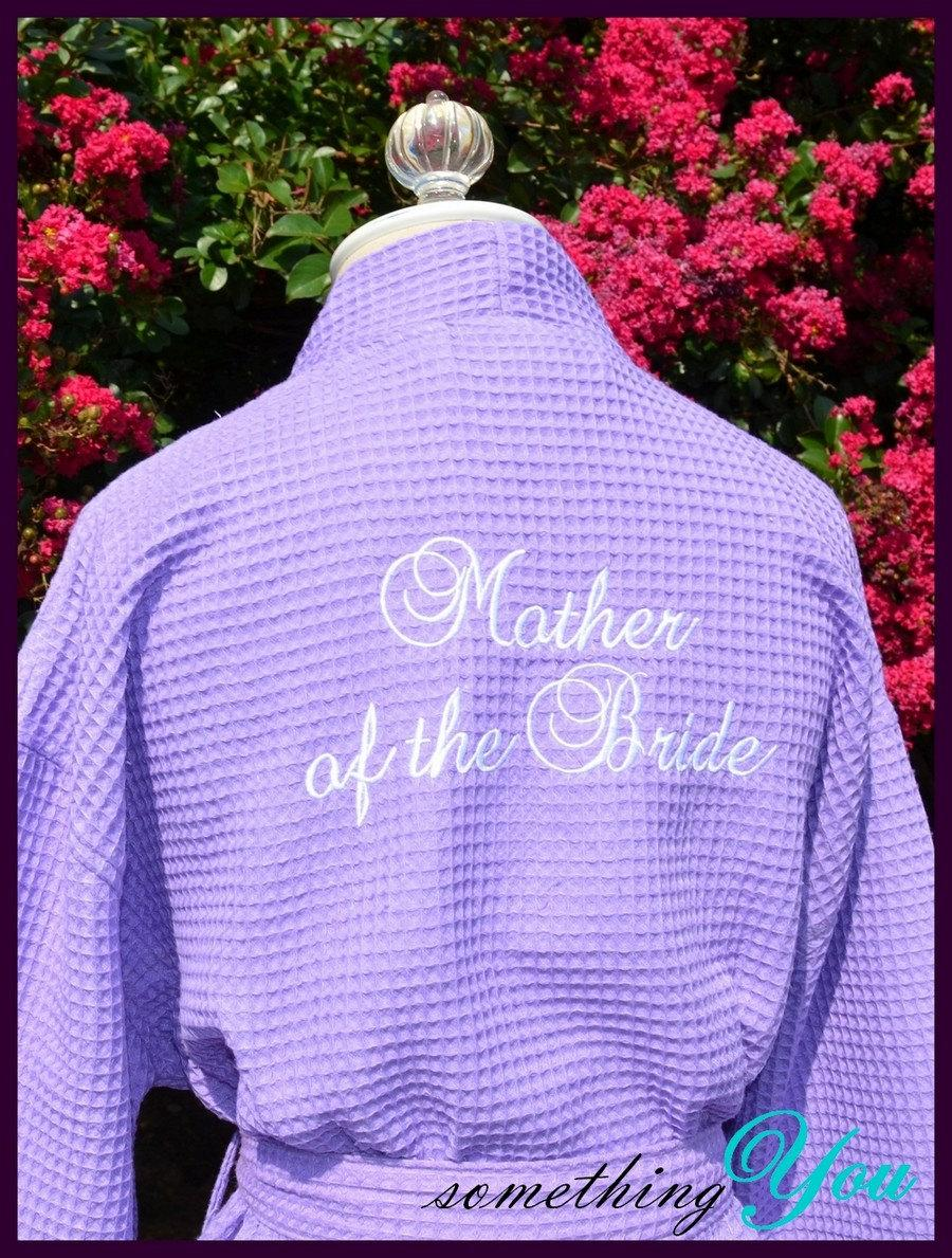 Mariage - Mother of the Bride or Mother of the Groom Back Embroidered Robe - Custom Elegant Script  Personalized Make Up Robe Makeup Robe Wedding Day
