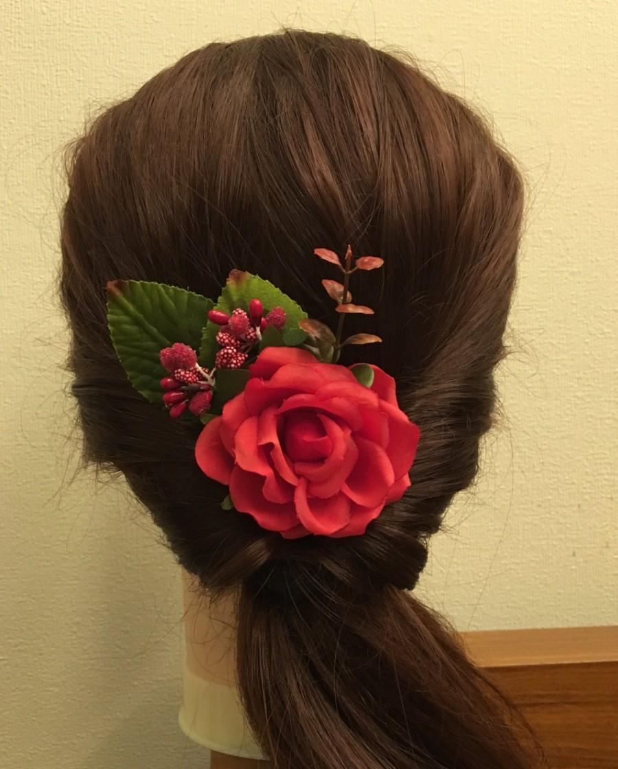 Mariage - Red Flower Clip Bridal hair clip Floral Fascinator Headpiece Floral Hair Clip wedding flower clip bridal flower pins bobby wedding hair pin