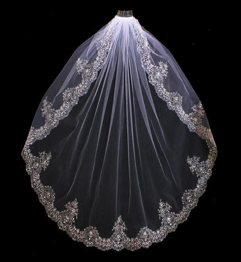 Mariage - Extravagant Beaded Silver Embroidery Fingertip or Cathedral Length Wedding Veil