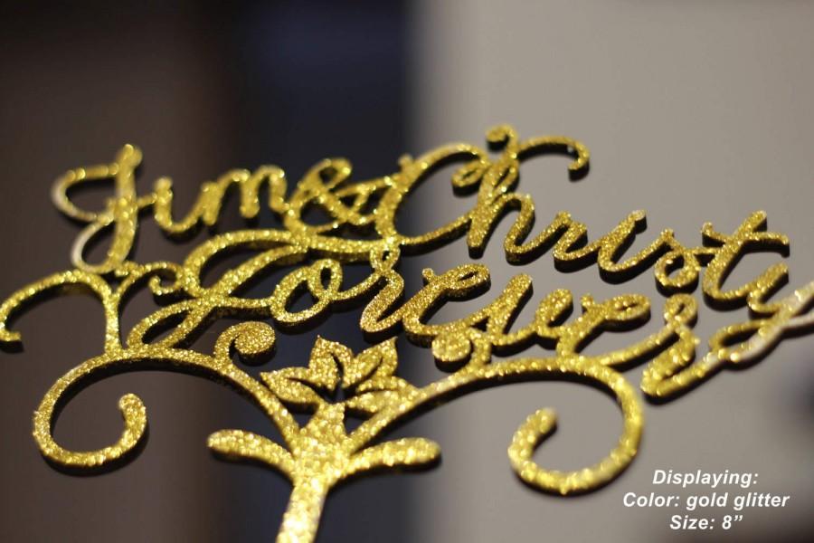 Hochzeit - Cake Topper Wooden Cake Topper Flower Wedding Cake Topper Personalized Cake Topper Forever Wedding Topper Custom Wedding Cake Topper