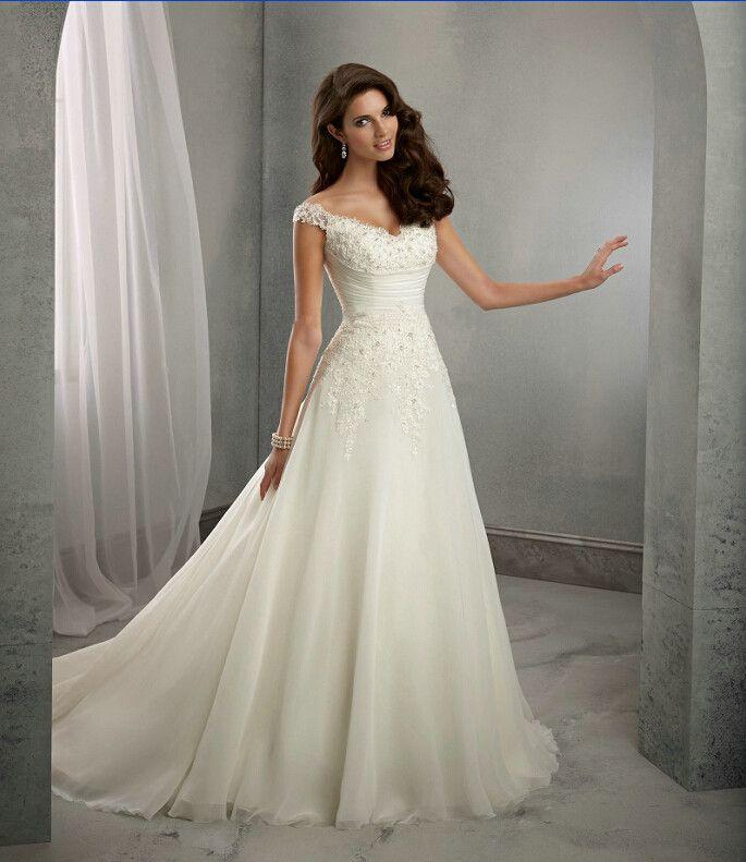 Wedding - Casamento A Line Cap Sleeves Long Lace Wedding Dresses