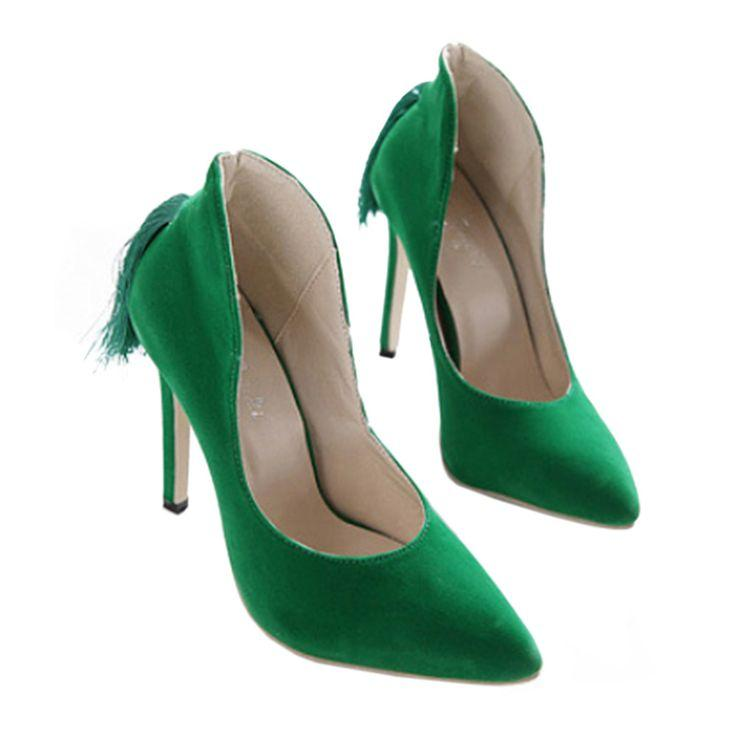 Hochzeit - Back Heel Tassel Pointed Thin High Heel Low-cut Wedding Shoes Green