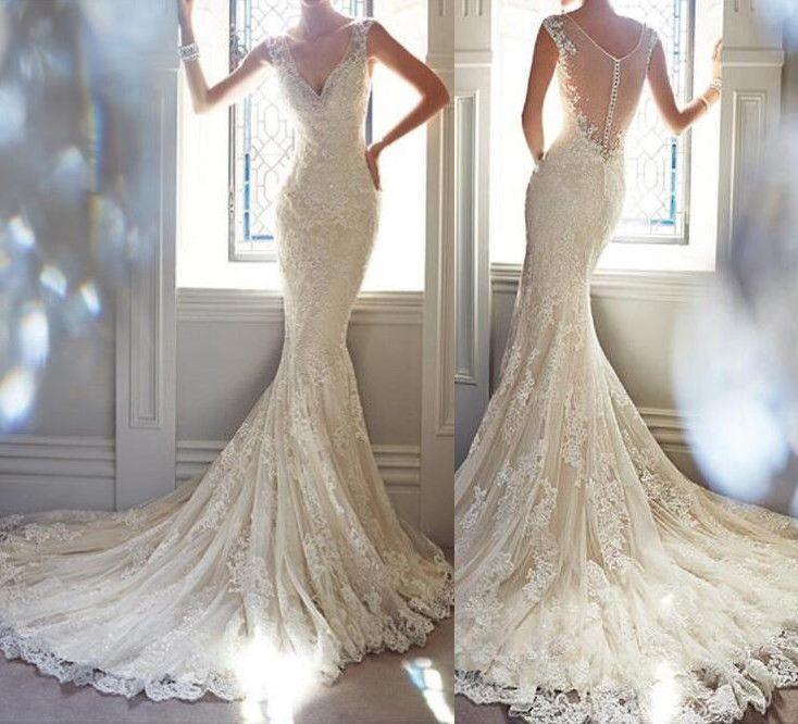 Mariage - Sexy Mermaid Lace Formal V Neck See-through Back Free Custom Wedding Dresses, PD0276
