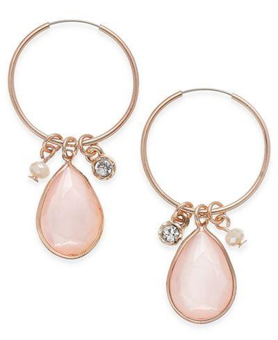 Mariage - Inspired Life Large Stone And Charm Hoop Earrings