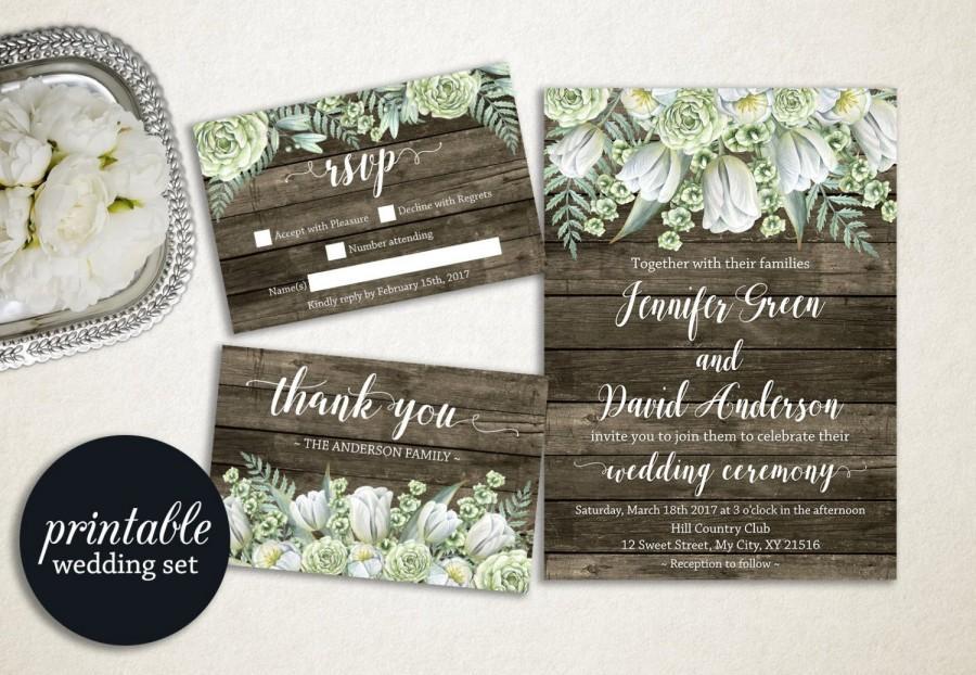 Green Rustic Wedding Invitation Fl