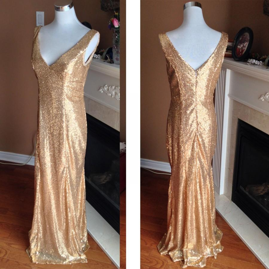 Mariage - Gold sequin bridesmaid dress, sequin wedding dress, sequin prom dress