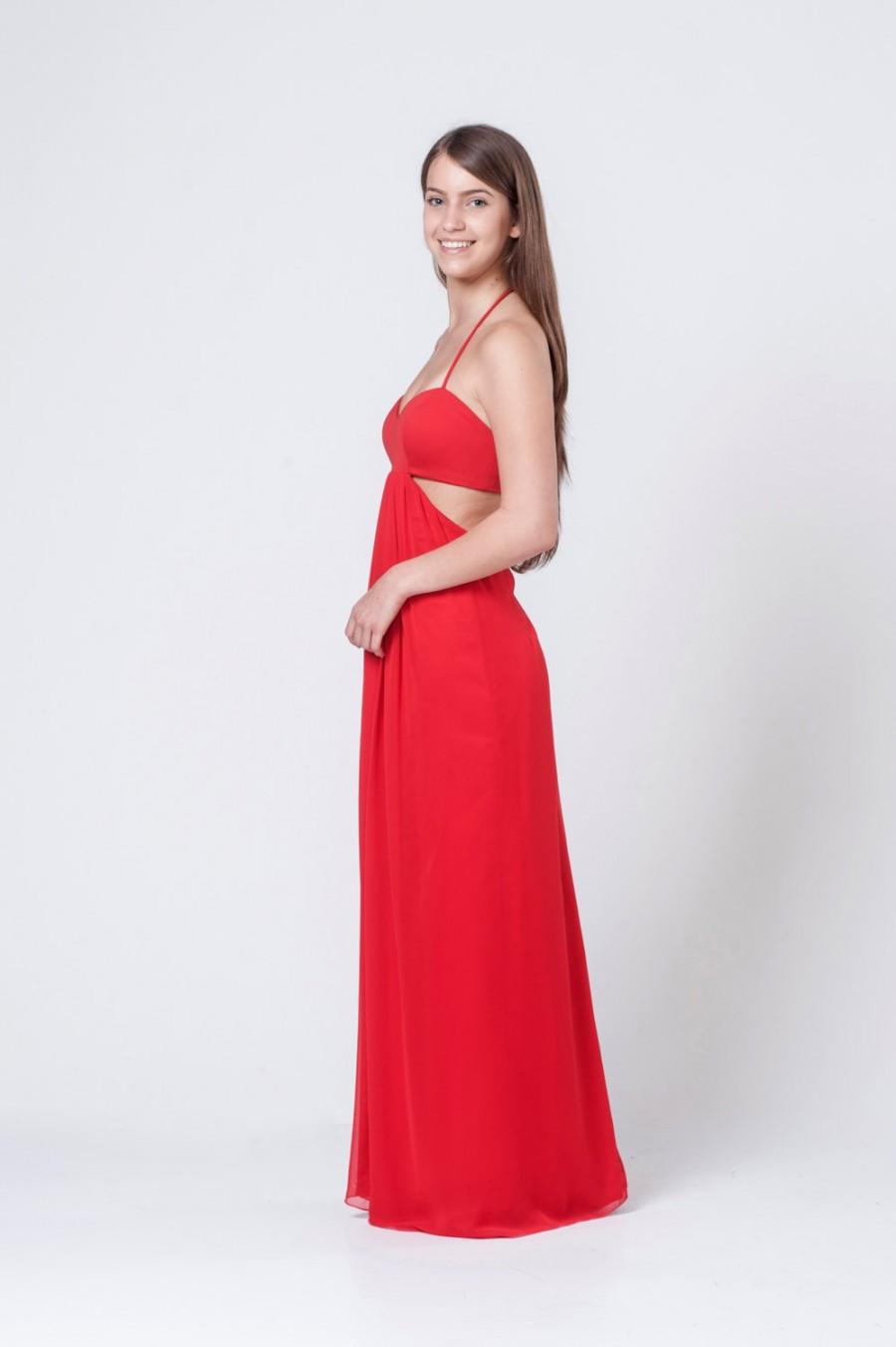 Свадьба - Evening Dress, Red Woman Dress, Party Long Dress, Bridesmaid Dress, Chiffon Dress, Sleeveless Dress, Prom Gown, Chiffon Gown, Flowy Dress