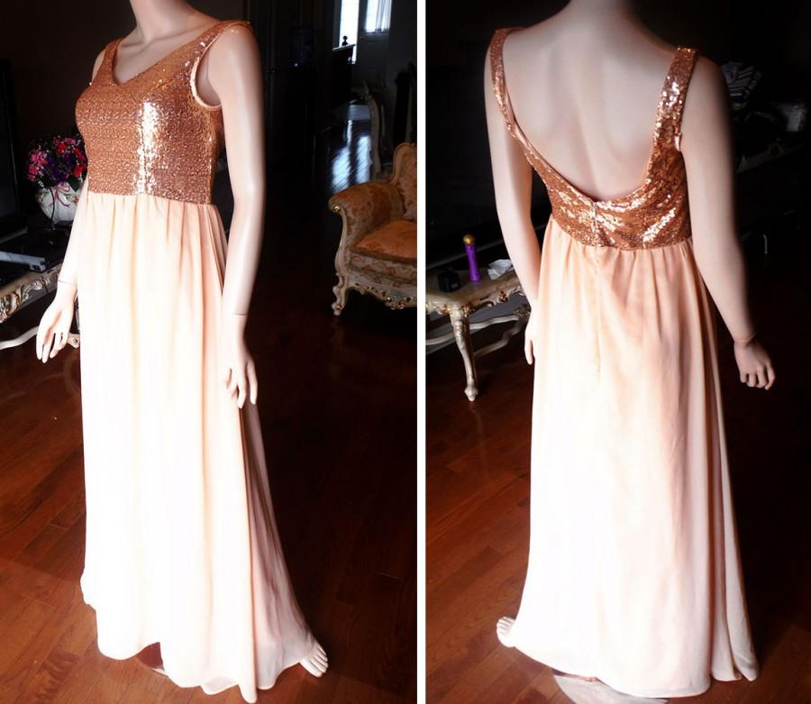 Mariage - Blush bridesmaid dress, Rose gold sequin bridesmaid dress