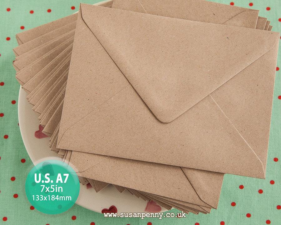 Hochzeit - 50 A7 Kraft Envelope, Greeting Card Envelope, 7x5in, Triangular Flap, Gummed, Flecked Brown, 110gsm, 100% recycled PSS078