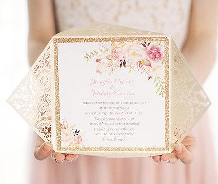 Hochzeit - Laser Cut Wedding Invitation, laser cut invite, gold wedding invitation, wedding invitation, lace wedding invitation, floral wedding invite