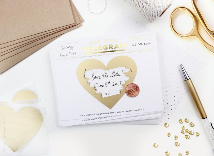 "Hochzeit - Scratch-off ""Be My Bridesmaid"" Telegram / Gold Foil"