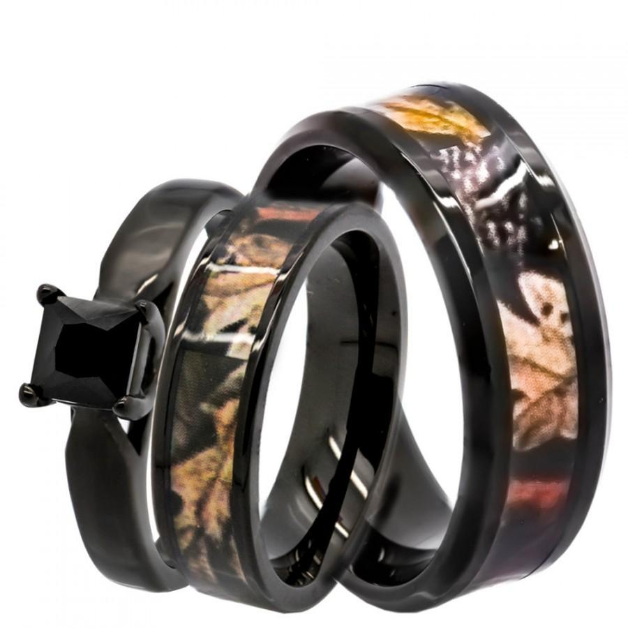 Hochzeit - His & Hers 1.25 ct Natural Genuine Black Spinel Camo 3 pcs Surgical Stainless Steel Engagement Wedding Rings set