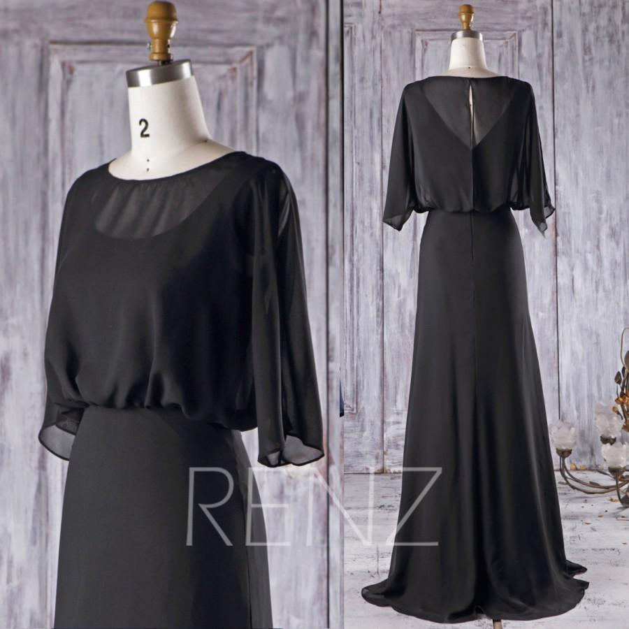 Mariage - 2016 Black Chiffon Bridesmaid Dress, Ruffle Sleeves Wedding Dress, A Line Prom Dress, Long Maxi Dress, Draped Evening Gown Floor (H349)
