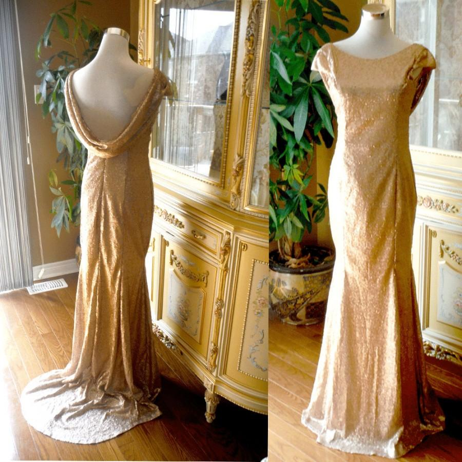 Mariage - Champagne gold sequin bridesmaid dress, cowl back sequin dress