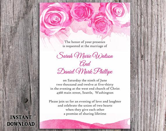 Watercolor Wedding Invitation Template Download Printable - Wedding invitation template download and print