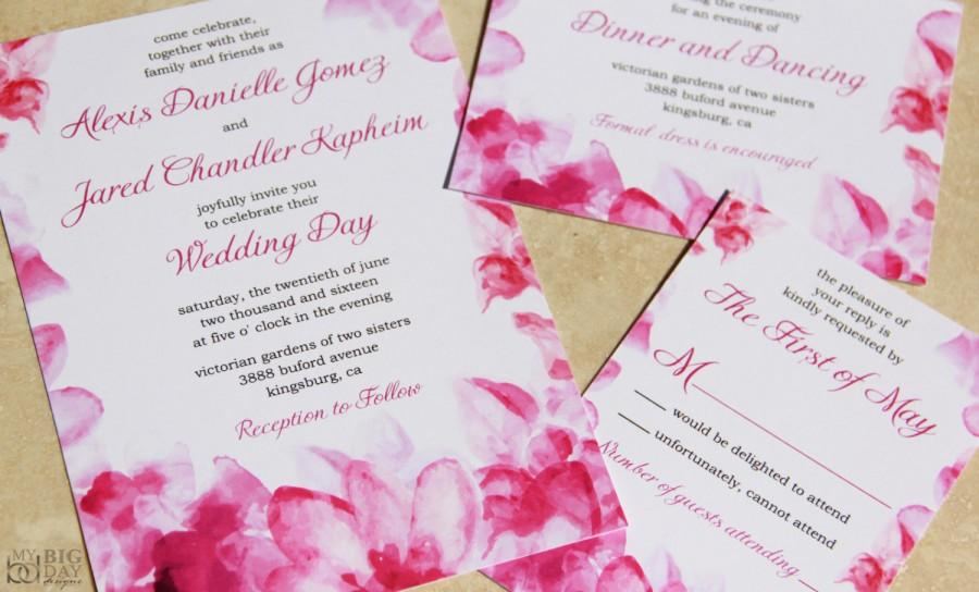 New floral watercolor wedding invitation set pink watercolor floral watercolor wedding invitation set pink watercolor flowers wedding invitations flower image by freepik stopboris Images
