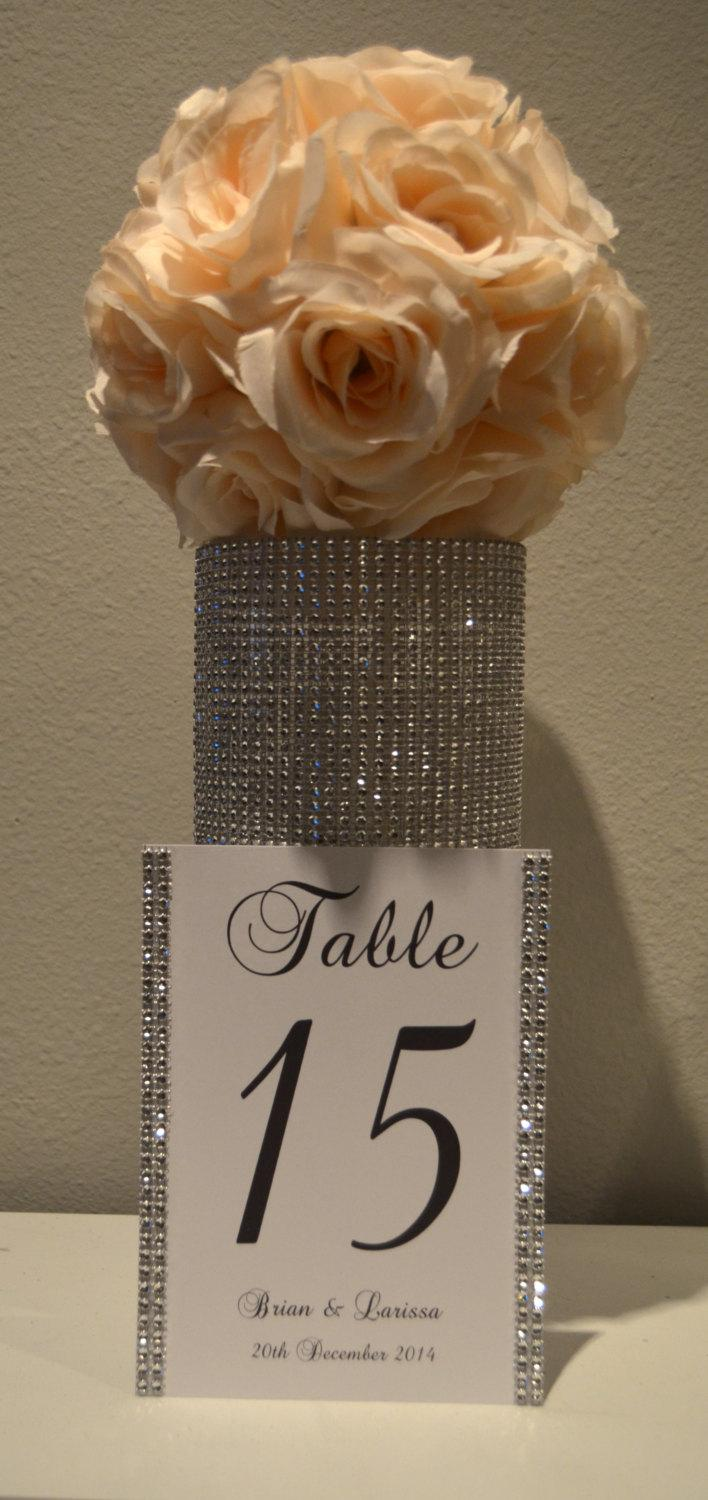 Hochzeit - Bling Collection * Wedding rhinestone table numbers